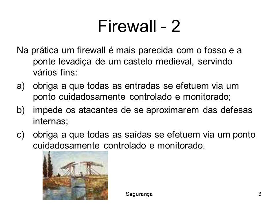 Segurança4 Firewall Um firewall consistindo de dois filtros de pacotes e um gateway de aplicação