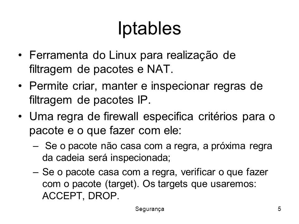 Segurança5 Iptables Ferramenta do Linux para realização de filtragem de pacotes e NAT.