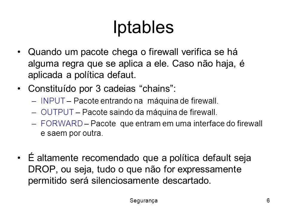 Segurança6 Iptables Quando um pacote chega o firewall verifica se há alguma regra que se aplica a ele.