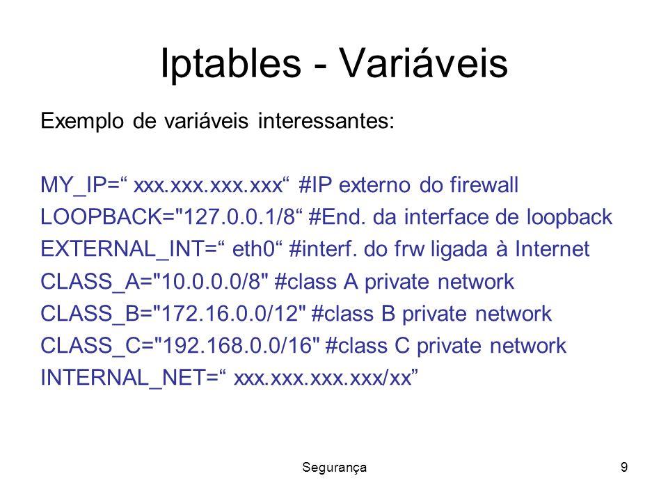 Segurança9 Iptables - Variáveis Exemplo de variáveis interessantes: MY_IP= xxx.xxx.xxx.xxx #IP externo do firewall LOOPBACK= 127.0.0.1/8 #End.