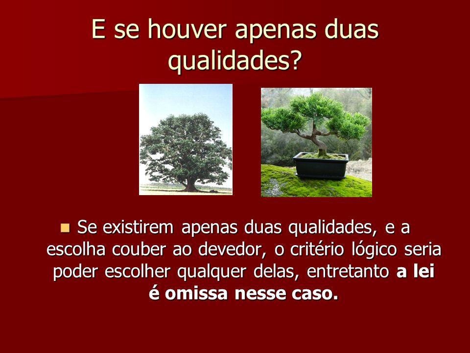 E se houver apenas duas qualidades? Se existirem apenas duas qualidades, e a escolha couber ao devedor, o critério lógico seria poder escolher qualque