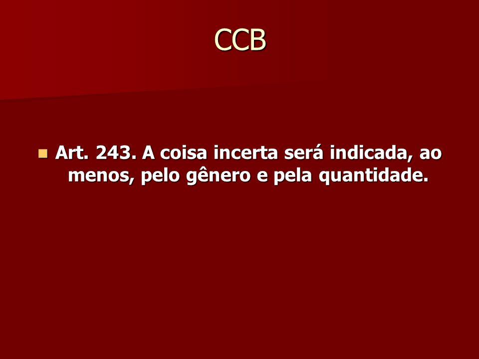 CCB Art. 243. A coisa incerta será indicada, ao menos, pelo gênero e pela quantidade. Art. 243. A coisa incerta será indicada, ao menos, pelo gênero e