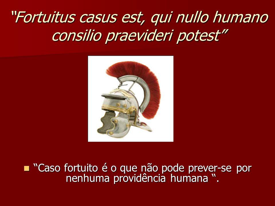 Fortuitus casus est, qui nullo humano consilio praevideri potest Caso fortuito é o que não pode prever-se por nenhuma providência humana. Caso fortuit