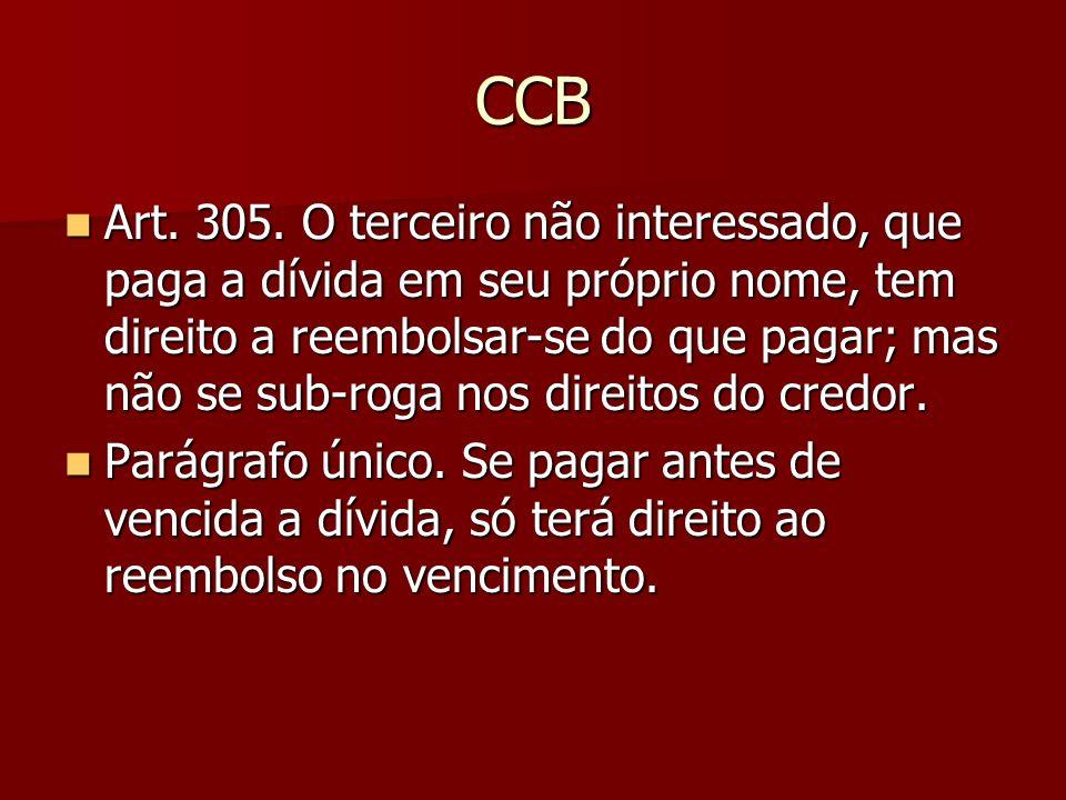 CCB Art. 305. O terceiro não interessado, que paga a dívida em seu próprio nome, tem direito a reembolsar-se do que pagar; mas não se sub-roga nos dir