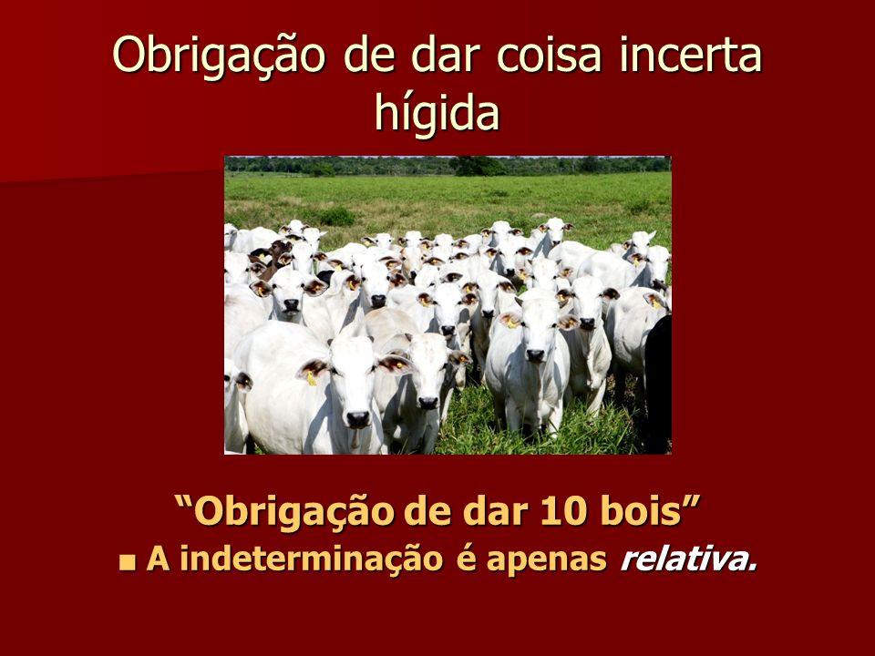 Obrigação de dar coisa incerta hígida Obrigação de dar 10 bois A indeterminação é apenas relativa. A indeterminação é apenas relativa.