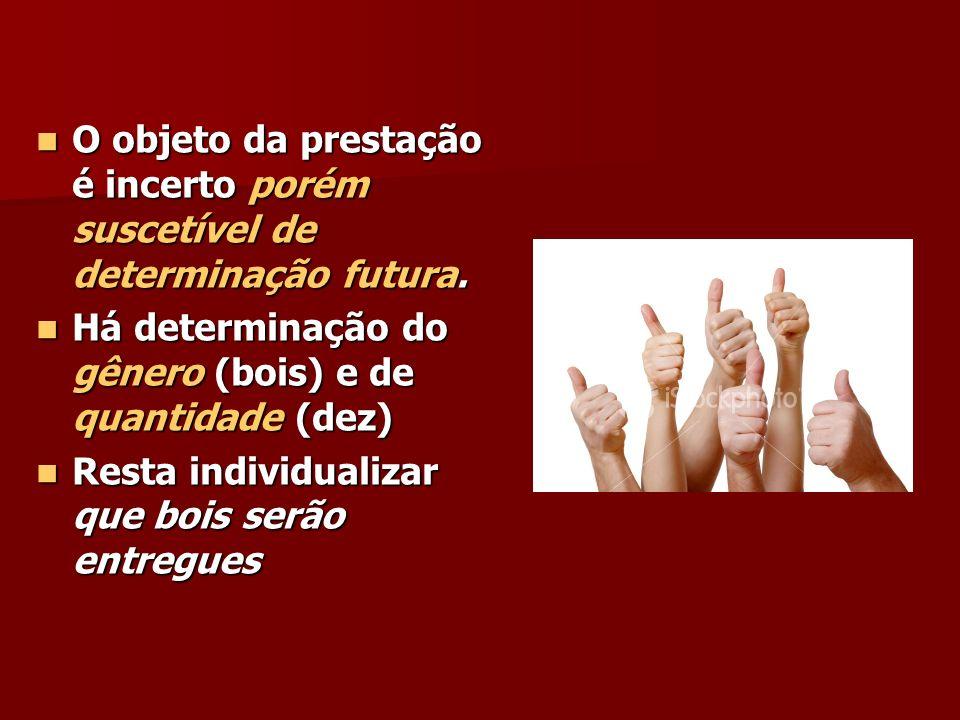 O objeto da prestação é incerto porém suscetível de determinação futura. O objeto da prestação é incerto porém suscetível de determinação futura. Há d