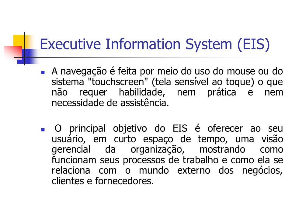 Executive Information System (EIS) A navegação é feita por meio do uso do mouse ou do sistema touchscreen (tela sensível ao toque) o que não requer habilidade, nem prática e nem necessidade de assistência.