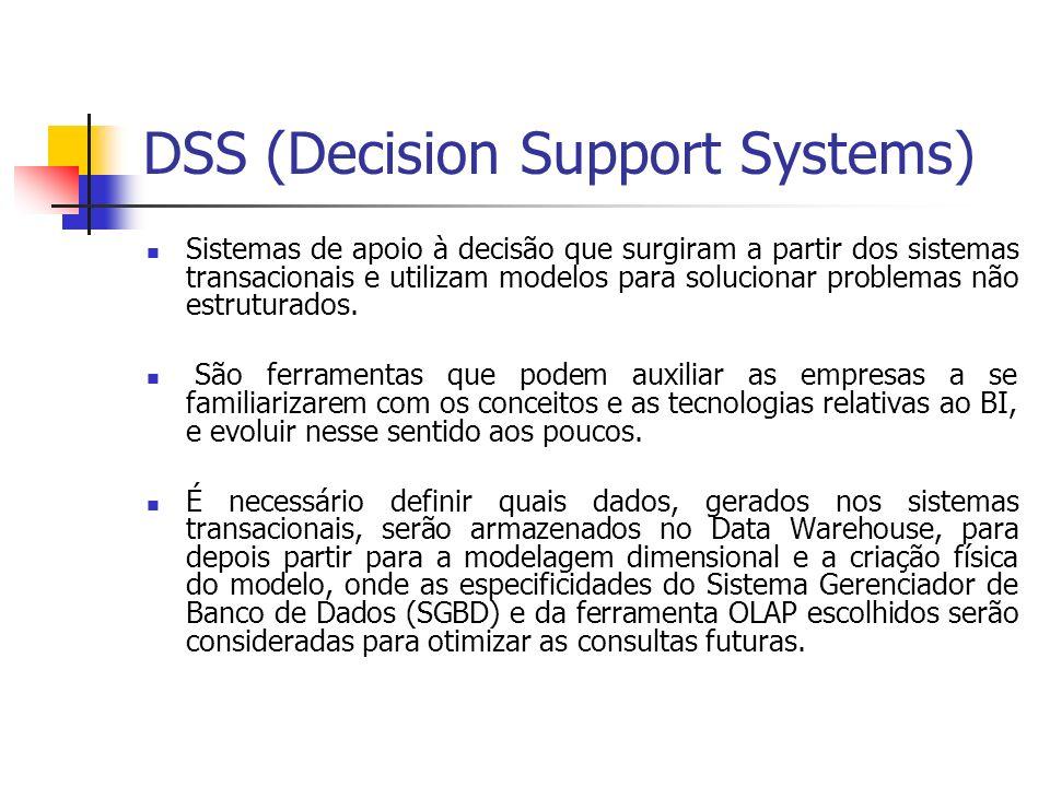 DSS (Decision Support Systems) Sistemas de apoio à decisão que surgiram a partir dos sistemas transacionais e utilizam modelos para solucionar problemas não estruturados.