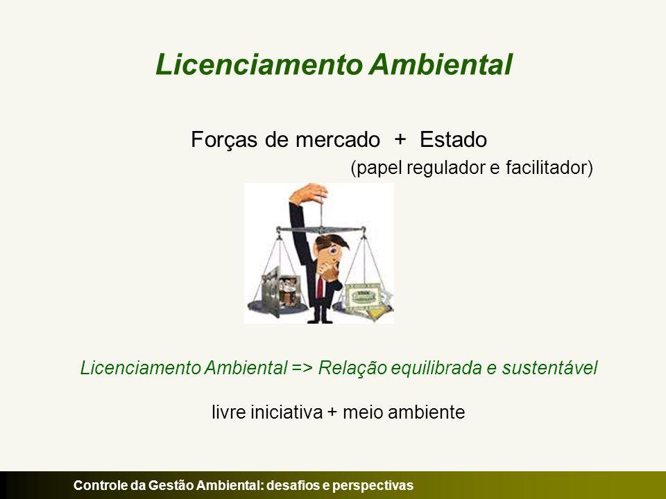Controle da Gestão Ambiental: desafios e perspectivas Licenciamento Ambiental Forças de mercado + Estado (papel regulador e facilitador) Licenciamento