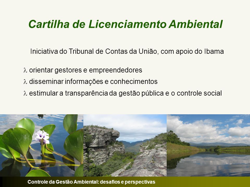Controle da Gestão Ambiental: desafios e perspectivas Público Alvo governos empreendedores conselhos de meio ambiente órgãos e entidades que lidem com a questão ambiental