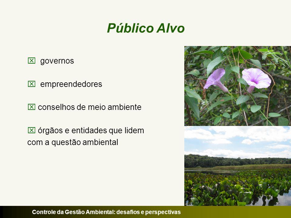 Controle da Gestão Ambiental: desafios e perspectivas Público Alvo governos empreendedores conselhos de meio ambiente órgãos e entidades que lidem com