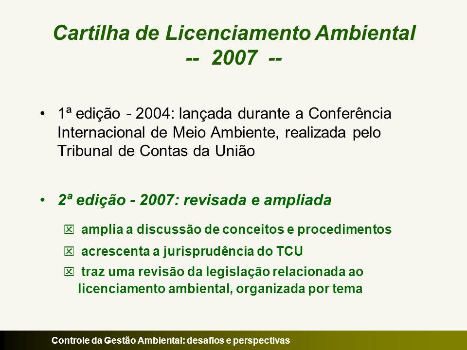 Controle da Gestão Ambiental: desafios e perspectivas Cartilha de Licenciamento Ambiental -- 2007 -- 1ª edição - 2004: lançada durante a Conferência I