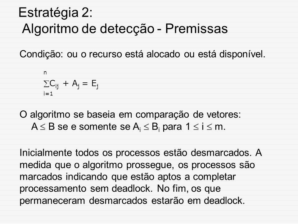 Estratégia 2: Detecção com Múltiplos Recursos de Cada Tipo Método para qdo há várias cópias de algum recurso. Ex: Há 2 impressoras, 3 leitoras de fita
