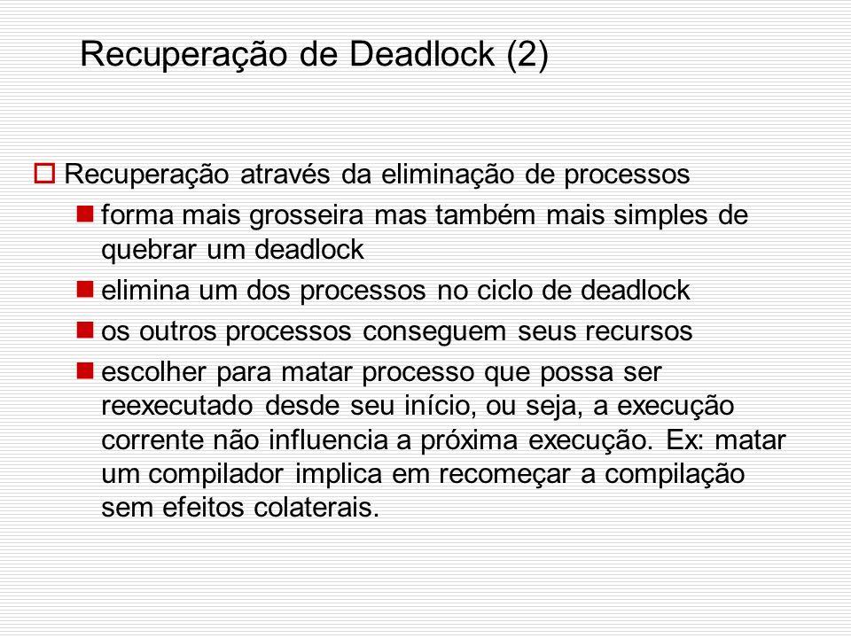 Recuperação de Deadlock (1) Suponha que um deadlock foi localizado. Tentemos recuperar o sistema. Recuperação através de preempção retirar um recurso
