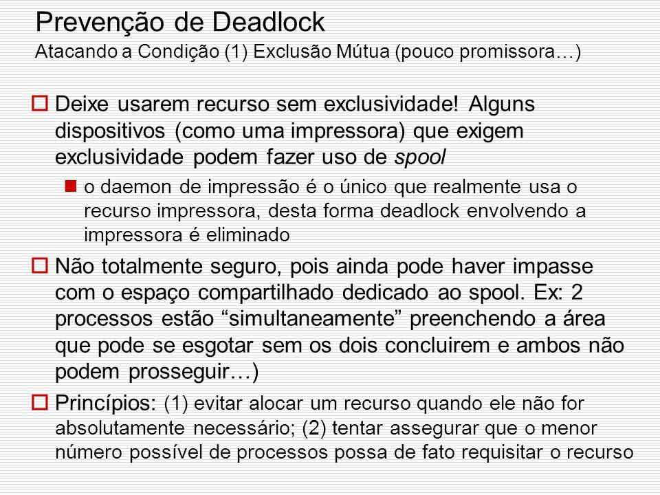 Prevenção de Deadlock Se evitar é praticamente impossível pois requer informações acerca de requisições futuras, pode-se tentar atacar as quatro condi