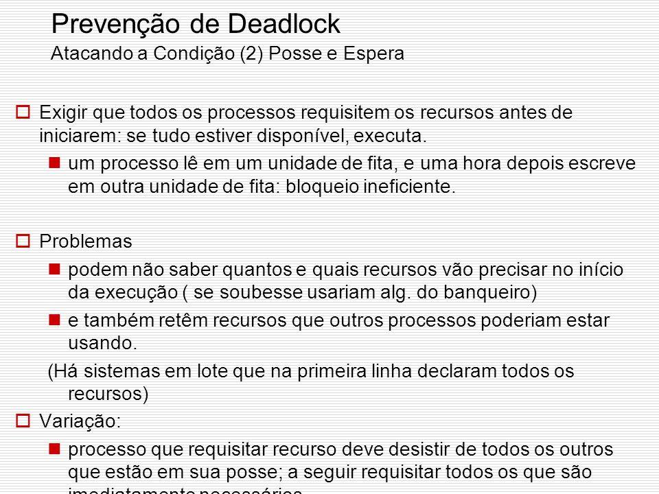 Prevenção de Deadlock Atacando a Condição (1) Exclusão Mútua (pouco promissora…) Deixe usarem recurso sem exclusividade! Alguns dispositivos (como uma