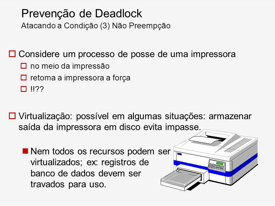 Prevenção de Deadlock Atacando a Condição (2) Posse e Espera Exigir que todos os processos requisitem os recursos antes de iniciarem: se tudo estiver