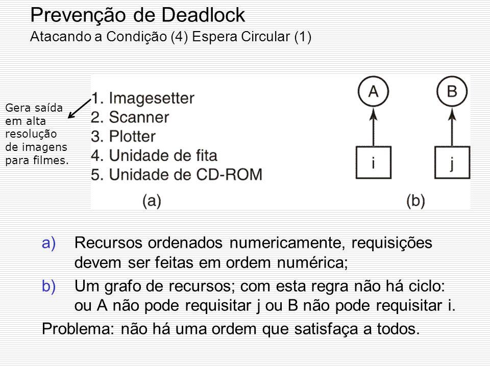 Prevenção de Deadlock Atacando a Condição (3) Não Preempção Considere um processo de posse de uma impressora no meio da impressão retoma a impressora
