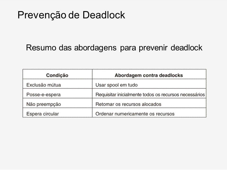 Prevenção de Deadlock Atacando a Condição (4) Espera Circular (1) a)Recursos ordenados numericamente, requisições devem ser feitas em ordem numérica;