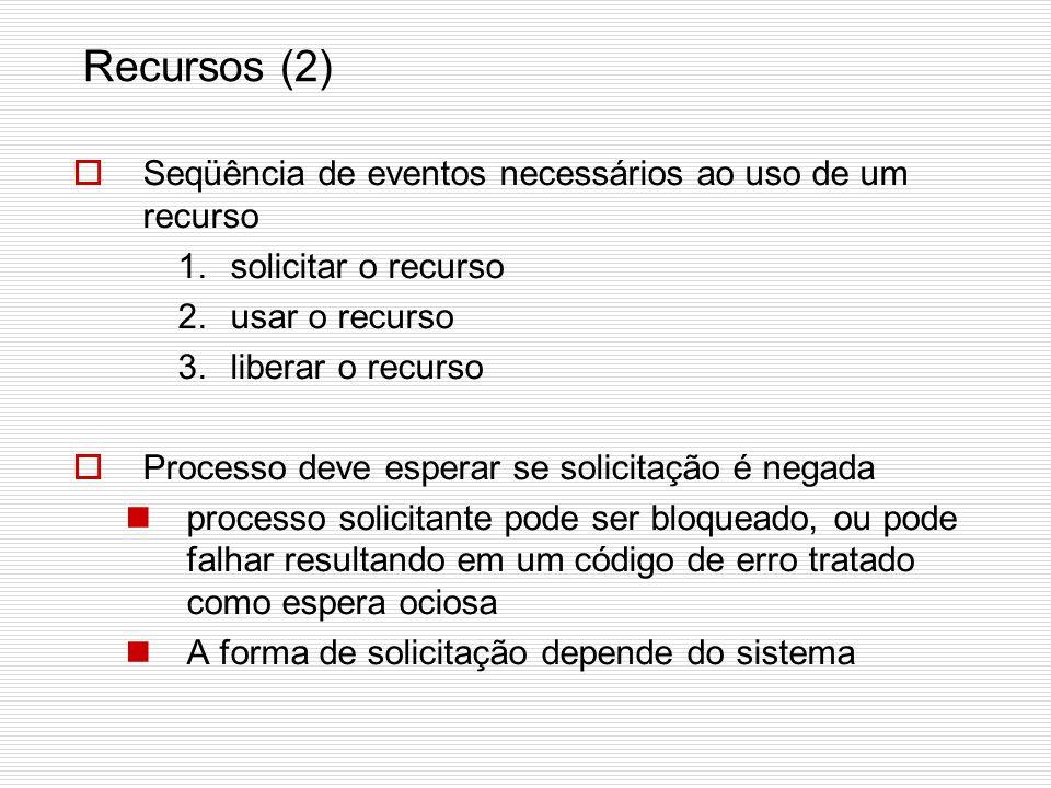 Recursos (1) Recurso: objeto acessado (dispositivo, trecho de informação como registro em base de dados). Pode ser adquirido, usado e liberado. Recurs