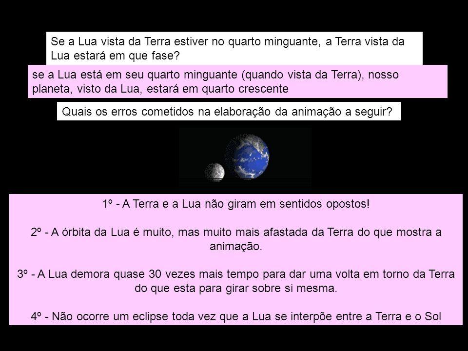 Se a Lua vista da Terra estiver no quarto minguante, a Terra vista da Lua estará em que fase? se a Lua está em seu quarto minguante (quando vista da T