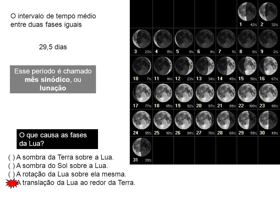29,5 dias O intervalo de tempo médio entre duas fases iguais Esse período é chamado mês sinódico, ou lunação O que causa as fases da Lua? ( ) A sombra