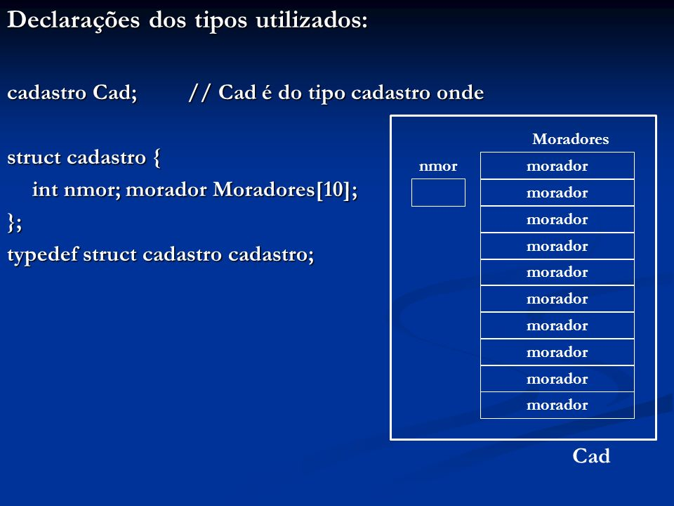 Declarações dos tipos utilizados: cadastro Cad; // Cad é do tipo cadastro onde struct cadastro { int nmor; morador Moradores[10]; int nmor; morador Mo