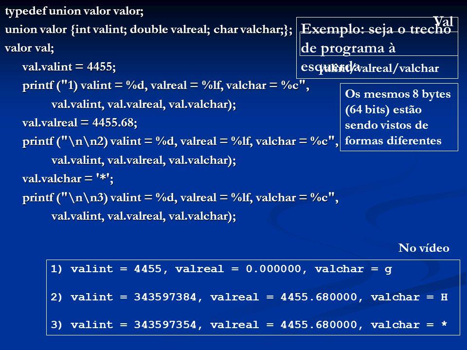 typedef union valor valor; union valor {int valint; double valreal; char valchar;}; valor val; val.valint = 4455; printf ( 1) valint = %d, valreal = %lf, valchar = %c , val.valint, val.valreal, val.valchar); val.valreal = 4455.68; printf ( \n\n2) valint = %d, valreal = %lf, valchar = %c , val.valint, val.valreal, val.valchar); val.valchar = * ; printf ( \n\n3) valint = %d, valreal = %lf, valchar = %c , val.valint, val.valreal, val.valchar); Exemplo: seja o trecho de programa à esquerda 1) valint = 4455, valreal = 0.000000, valchar = g 2) valint = 343597384, valreal = 4455.680000, valchar = H 3) valint = 343597354, valreal = 4455.680000, valchar = * No vídeo Os mesmos 8 bytes (64 bits) estão sendo vistos de formas diferentes Val valint/valreal/valchar