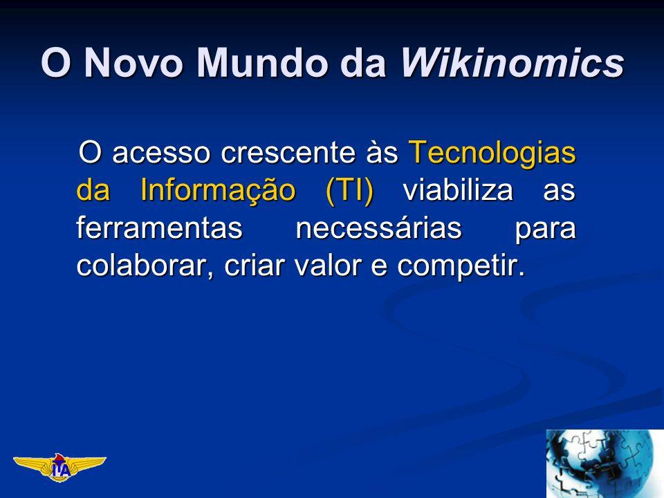 O Novo Mundo da Wikinomics O acesso crescente às Tecnologias da Informação (TI) viabiliza as ferramentas necessárias para colaborar, criar valor e competir.