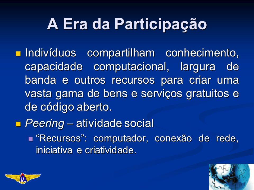 A Era da Participação Indivíduos compartilham conhecimento, capacidade computacional, largura de banda e outros recursos para criar uma vasta gama de