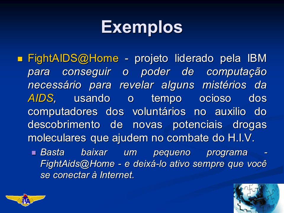Exemplos FightAIDS@Home - projeto liderado pela IBM para conseguir o poder de computação necessário para revelar alguns mistérios da AIDS, usando o tempo ocioso dos computadores dos voluntários no auxilio do descobrimento de novas potenciais drogas moleculares que ajudem no combate do H.I.V.
