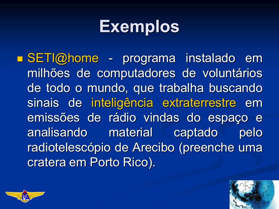 Exemplos SETI@home - programa instalado em milhões de computadores de voluntários de todo o mundo, que trabalha buscando sinais de inteligência extraterrestre em emissões de rádio vindas do espaço e analisando material captado pelo radiotelescópio de Arecibo (preenche uma cratera em Porto Rico).