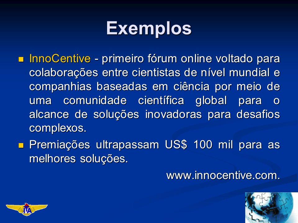Exemplos InnoCentive - primeiro fórum online voltado para colaborações entre cientistas de nível mundial e companhias baseadas em ciência por meio de uma comunidade científica global para o alcance de soluções inovadoras para desafios complexos.