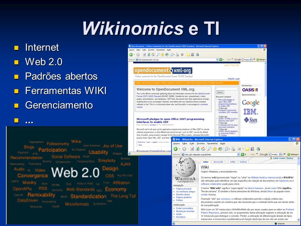 Wikinomics e TI Internet Internet Web 2.0 Web 2.0 Padrões abertos Padrões abertos Ferramentas WIKI Ferramentas WIKI Gerenciamento Gerenciamento......