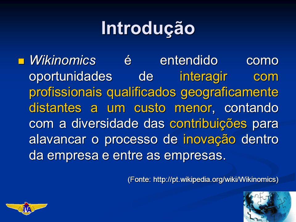 Introdução Wikinomics é entendido como oportunidades de interagir com profissionais qualificados geograficamente distantes a um custo menor, contando com a diversidade das contribuições para alavancar o processo de inovação dentro da empresa e entre as empresas.