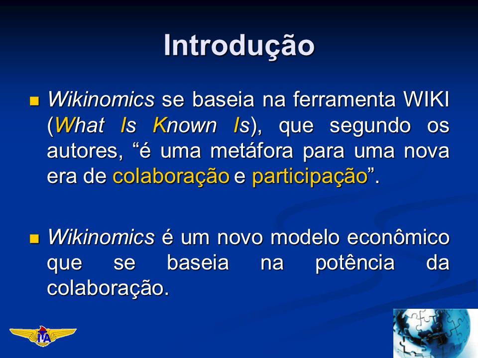 Introdução Wikinomics se baseia na ferramenta WIKI (What Is Known Is), que segundo os autores, é uma metáfora para uma nova era de colaboração e participação.