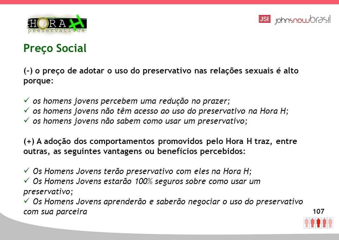 107 Preço Social (-) o preço de adotar o uso do preservativo nas relações sexuais é alto porque: os homens jovens percebem uma redução no prazer; os h
