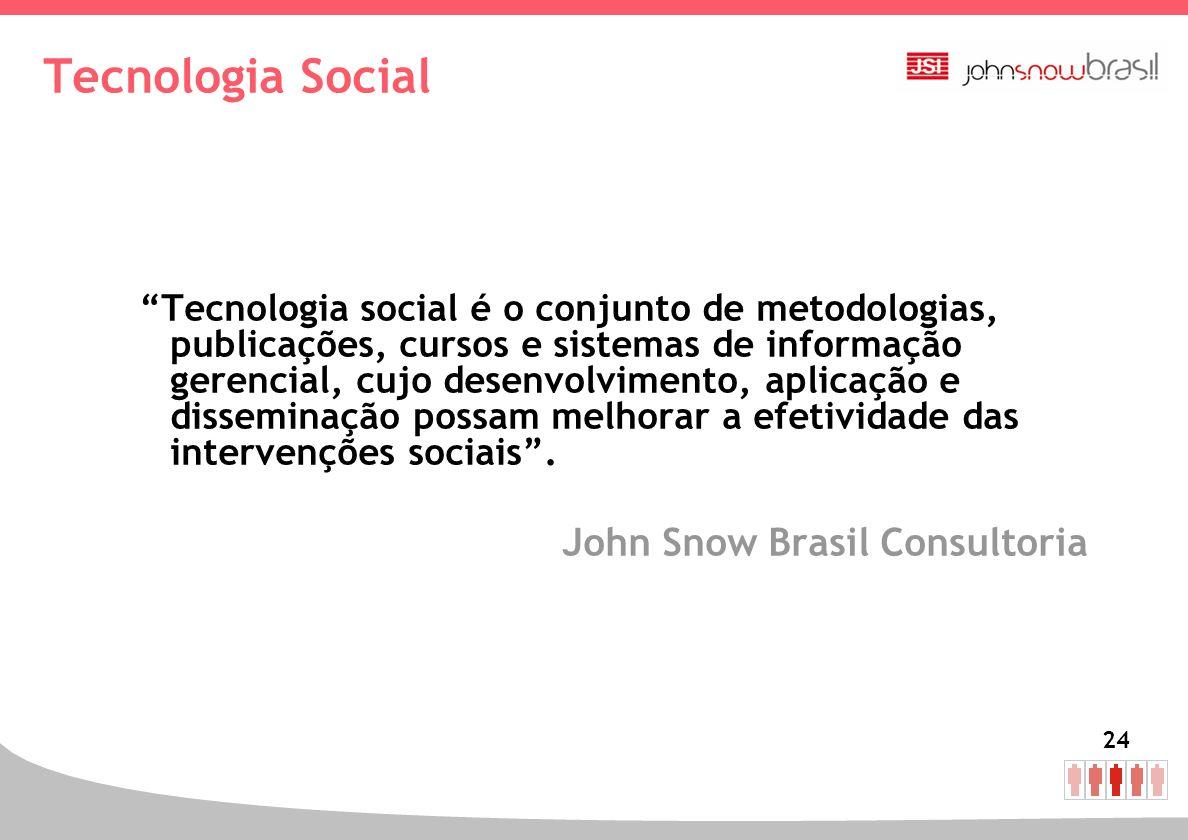 24 Tecnologia Social Tecnologia social é o conjunto de metodologias, publicações, cursos e sistemas de informação gerencial, cujo desenvolvimento, apl