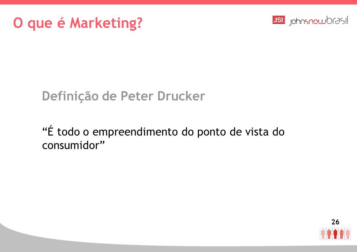26 O que é Marketing? Definição de Peter Drucker É todo o empreendimento do ponto de vista do consumidor