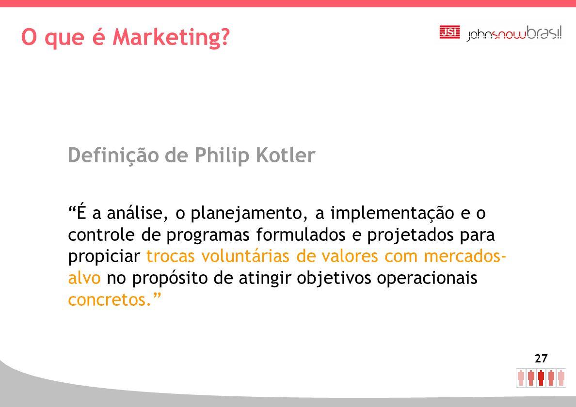 27 O que é Marketing? Definição de Philip Kotler É a análise, o planejamento, a implementação e o controle de programas formulados e projetados para p