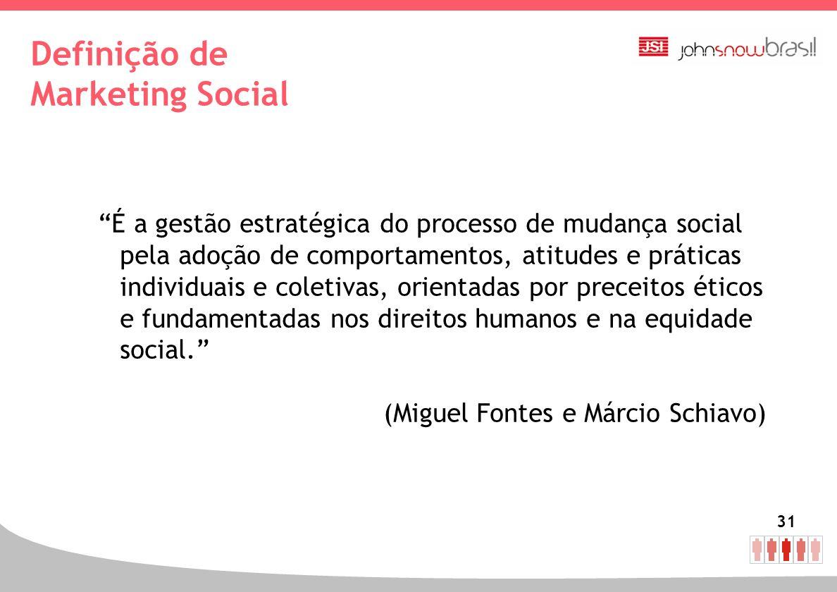31 Definição de Marketing Social É a gestão estratégica do processo de mudança social pela adoção de comportamentos, atitudes e práticas individuais e