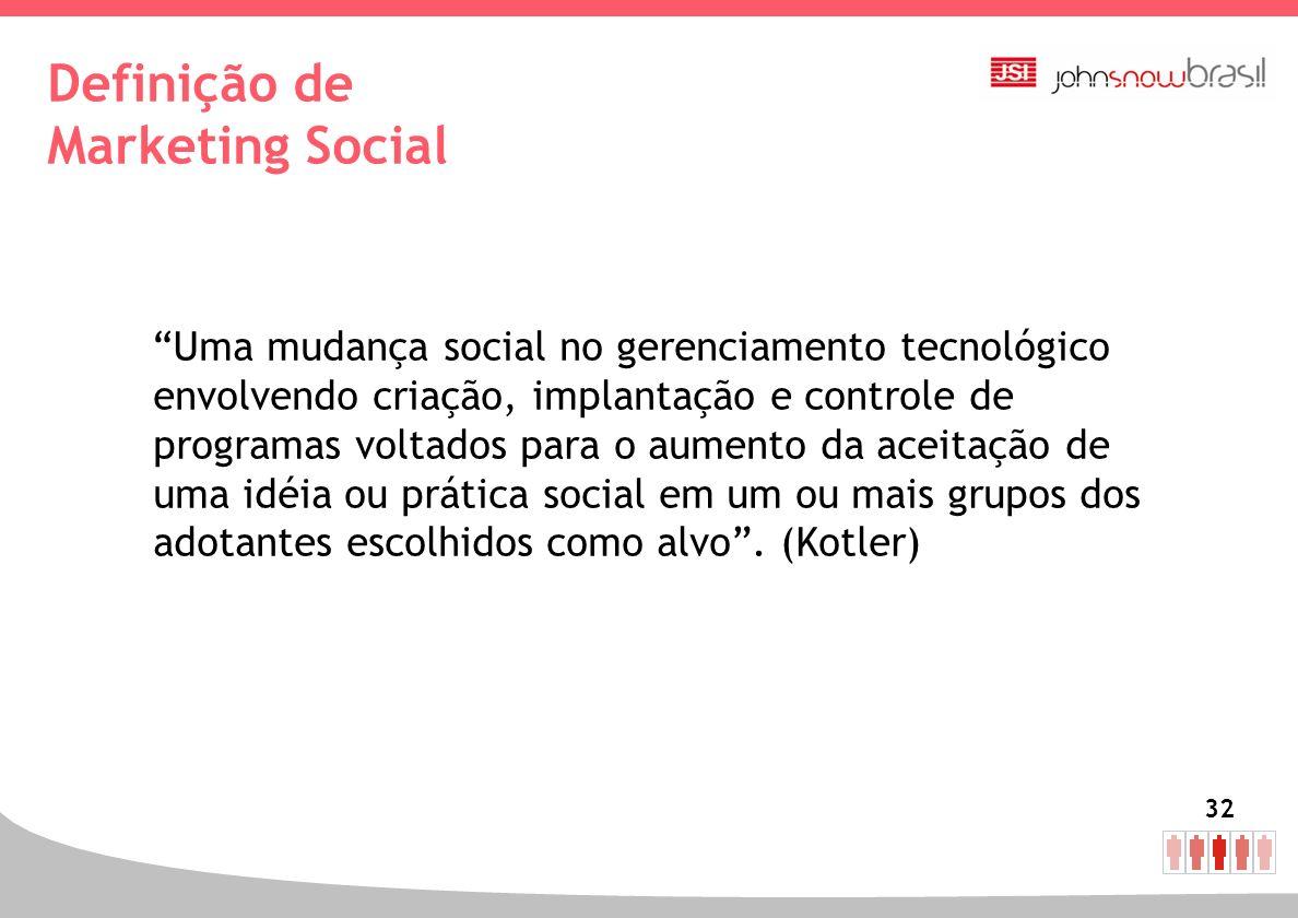 32 Definição de Marketing Social Uma mudança social no gerenciamento tecnológico envolvendo criação, implantação e controle de programas voltados para