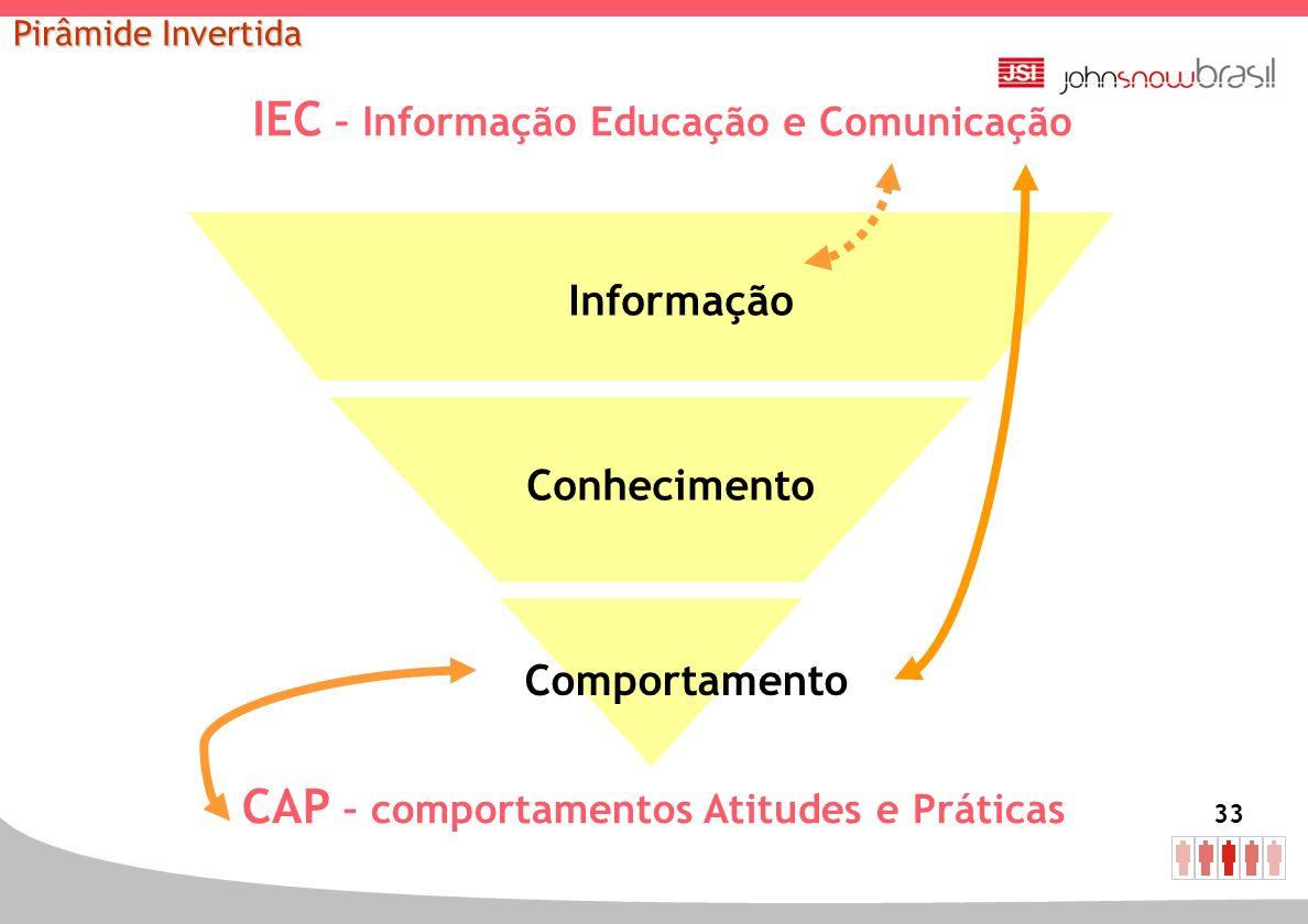 33 IEC – Informação Educação e Comunicação Informação Conhecimento Comportamento CAP – comportamentos Atitudes e Práticas Pirâmide Invertida