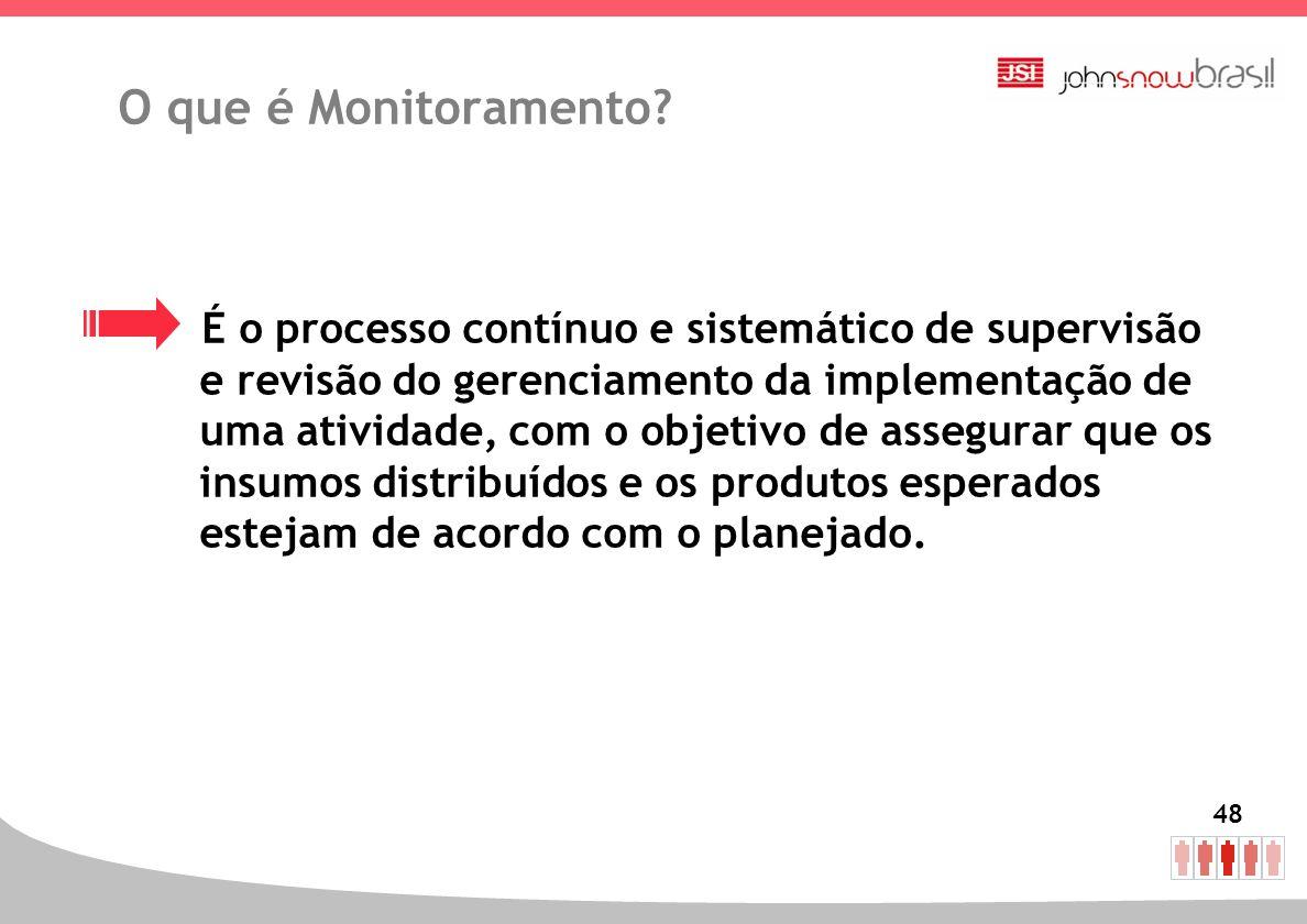 48 O que é Monitoramento? É o processo contínuo e sistemático de supervisão e revisão do gerenciamento da implementação de uma atividade, com o objeti