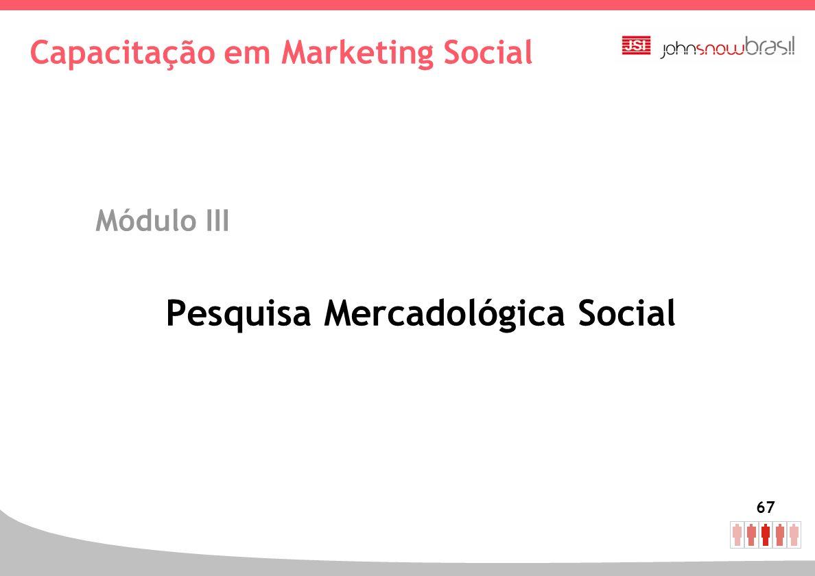 67 Capacitação em Marketing Social Módulo III Pesquisa Mercadológica Social