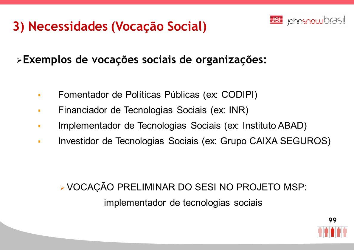 99 3) Necessidades (Vocação Social) Exemplos de vocações sociais de organizações: Fomentador de Políticas Públicas (ex: CODIPI) Financiador de Tecnolo