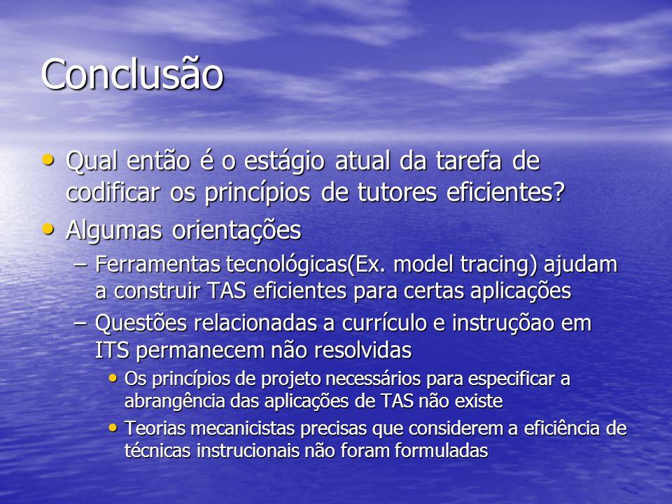 Conclusão Qual então é o estágio atual da tarefa de codificar os princípios de tutores eficientes.