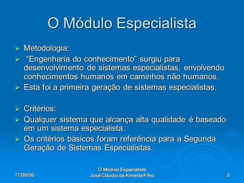 17/08/06 O Módulo Especialista José Cláudio de Almeida Filho4 O Módulo Especialista São sistemas de fundamental importância e não são pequenos e nem frágeis.