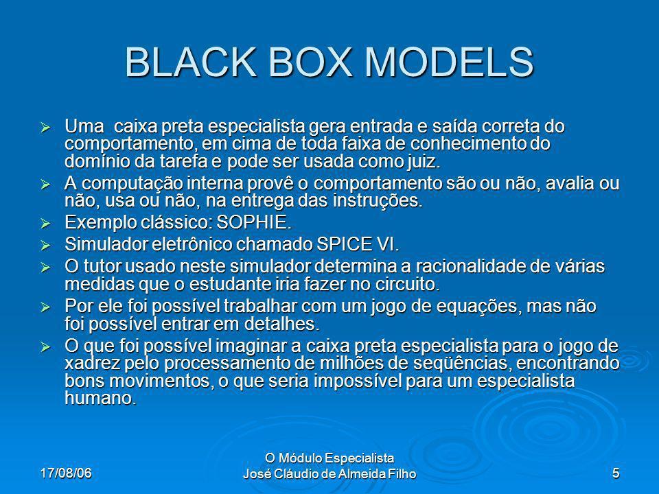 17/08/06 O Módulo Especialista José Cláudio de Almeida Filho5 BLACK BOX MODELS Uma caixa preta especialista gera entrada e saída correta do comportamento, em cima de toda faixa de conhecimento do domínio da tarefa e pode ser usada como juiz.