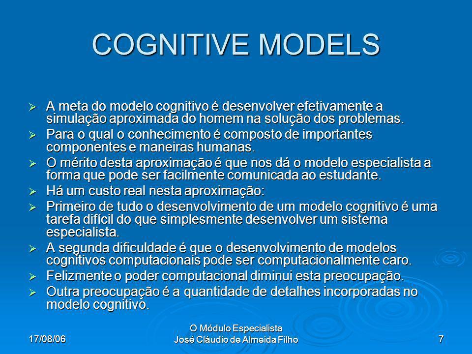 17/08/06 O Módulo Especialista José Cláudio de Almeida Filho7 COGNITIVE MODELS A meta do modelo cognitivo é desenvolver efetivamente a simulação aproximada do homem na solução dos problemas.